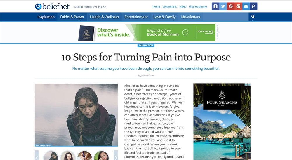 "Copy of article: ""10 Steps for Turning Pain into Purpose"""