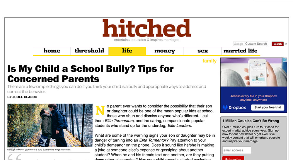 "Article from ""hitched"" - ""Is My Child a School Bully? Tips for Concerned Parents."""